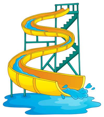 water chute: Image with aqua park theme  Illustration