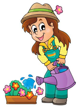watering garden: Image with gardener theme  Illustration