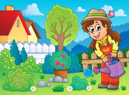 Image with gardener theme 2  Vector