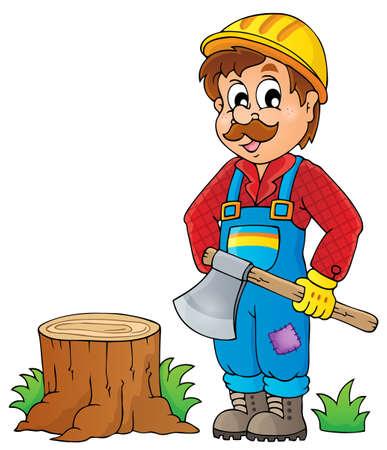 wooden work: Immagine con il tema boscaiolo 1 Vettoriali