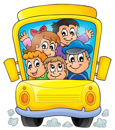 Image with school bus theme 1 Vector