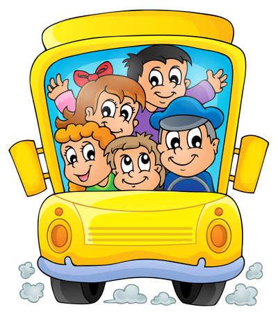 chofer de autobus: Imagen con el tema de autob�s escolar 1 Vectores