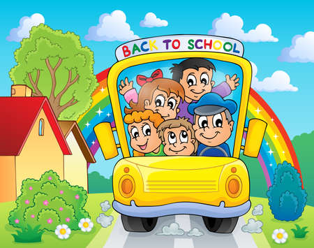 rainbow cartoon: Image with school bus theme 4
