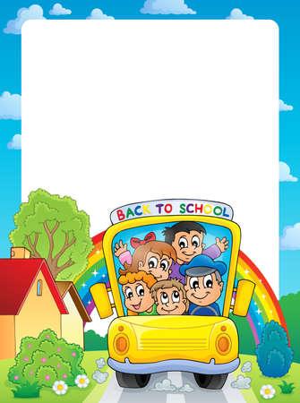young schoolgirl: School theme frame 9