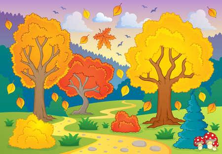 paysage dessin anim�: Automne th�matique Illustration