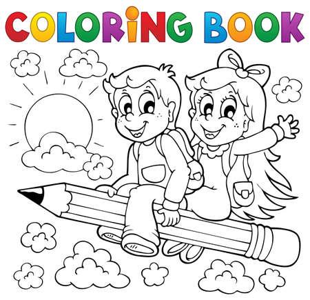 libros volando: Libro para colorear alumno Vectores