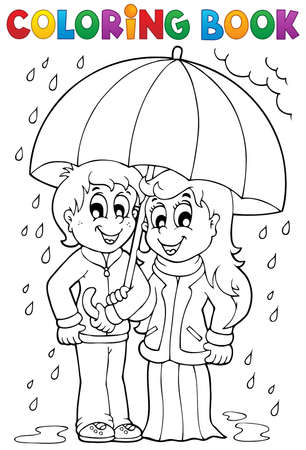 Coloring Book Boy With Umbrella In The Rain Vector Illustration