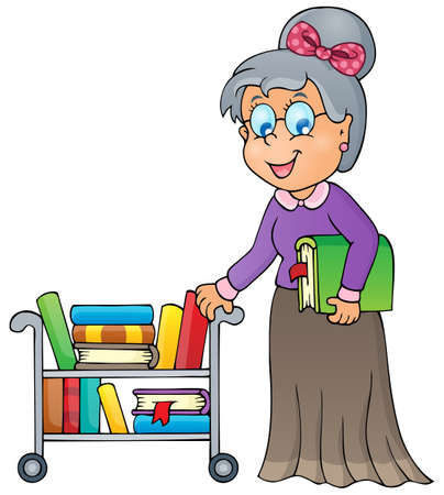 Image with librarian  Illustration