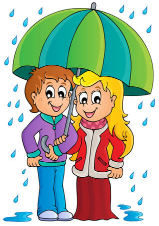 rain cartoon: Rainy weather theme