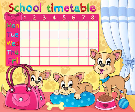 School timetable thematic Vector