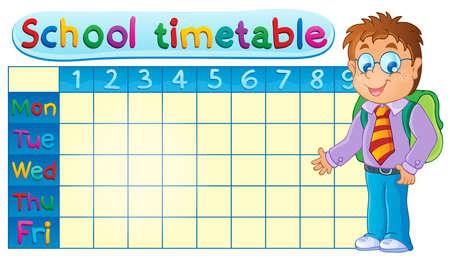 school days: School timetable theme  Illustration