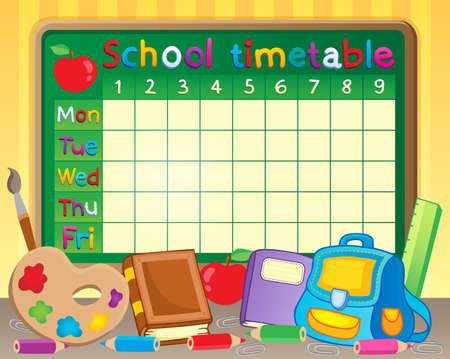 cronograma: Tema Horario de la escuela Vectores