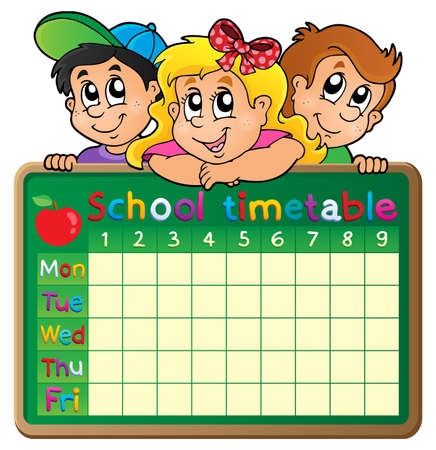cartoon school girl: School timetable theme  Illustration