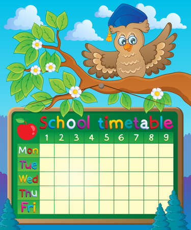 School timetable theme  Ilustracja