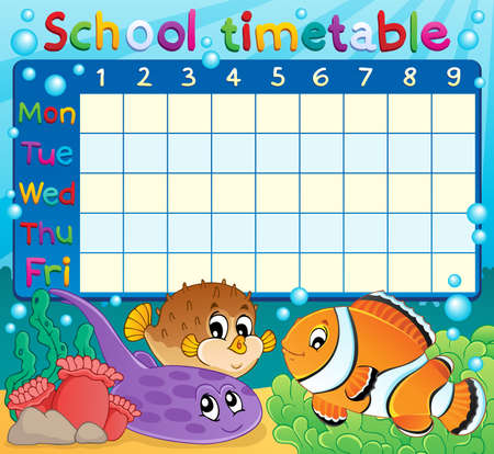 sea anemone: School timetable theme  Illustration