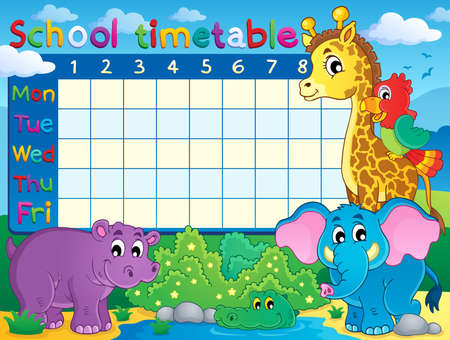 School timetable theme  Illustration