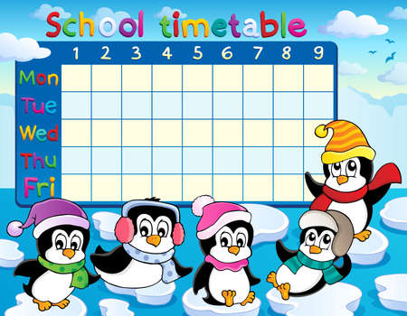 School timetable theme Vector
