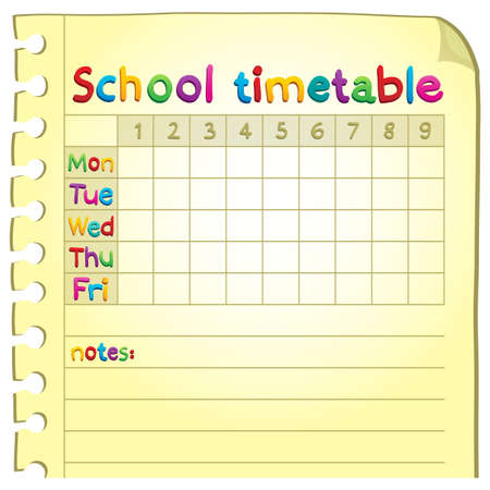 School timetable topic  Vector