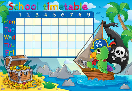timetable: School timetable topic Illustration