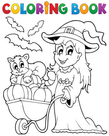 coloring: Coloring book Halloween image 2 - eps10 vector illustration