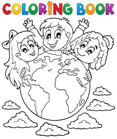 coloring: Coloring book kids theme 2 - eps10 vector illustration