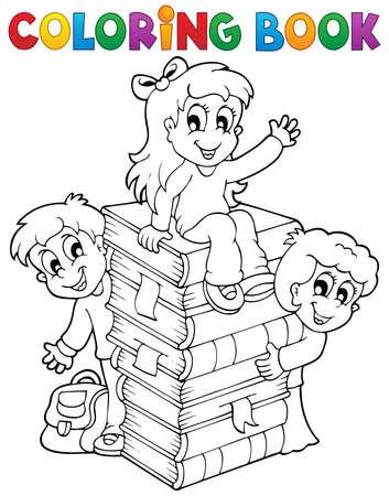 bookbag: Coloring book kids theme 4 - eps10 vector illustration