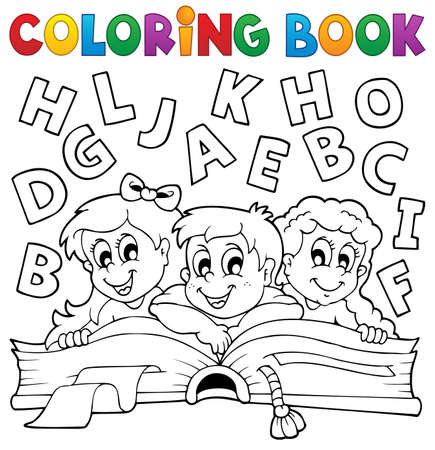 books clipart: Coloring book kids theme 5 - eps10 vector illustration  Illustration