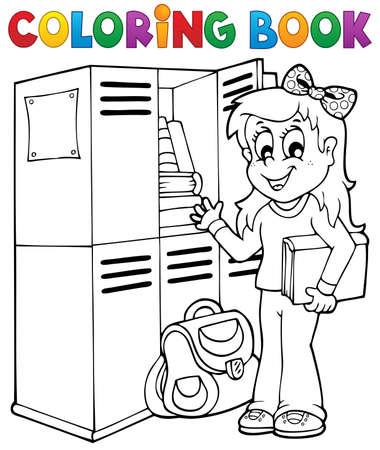 bookbag: Coloring book school topic 5 - eps10 vector illustration  Illustration