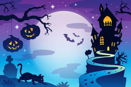 luna caricatura: Tema de fondo de Halloween 3 - ilustraci�n vectorial de eps10