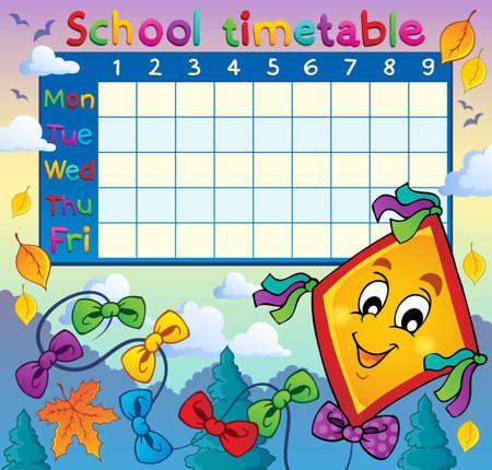 cronograma: Horario de la escuela de imagen temática 8 - eps10 ilustración vectorial