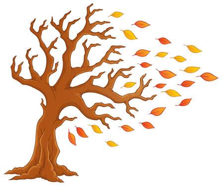 windy: Autumn tree theme image Illustration