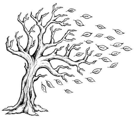 monochroom: Afbeelding Herfst boom thema Stock Illustratie