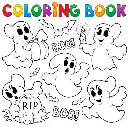 Coloring book ghost theme Vector