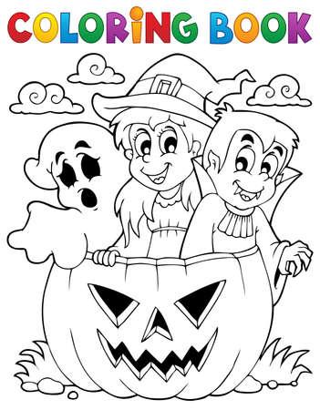 calabaza caricatura: Colorear car�cter de Halloween libro Vectores