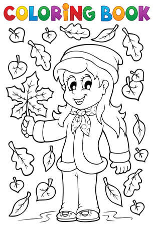 Coloring book with autumn theme Vector