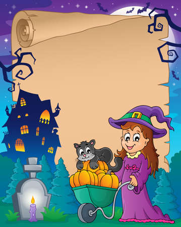 handcart: Halloween parchment  Illustration