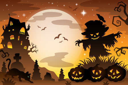 Halloween topic scene Vector