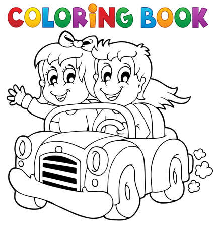 car drawing: Coloring book car theme