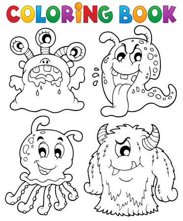 alien clipart: Coloring book monster theme