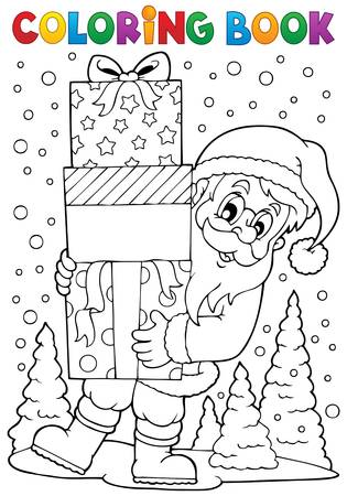 Coloring book Santa Claus topic   Vector