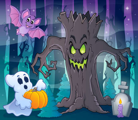 scary night: Mysterious forest theme image 2