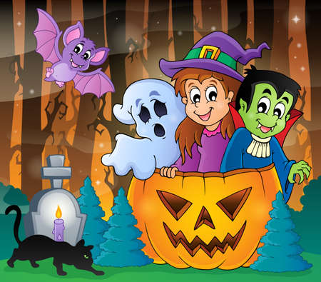 halloween cartoon: Mysterious forest theme image