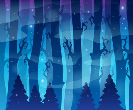 misty forest: Imagen del tema Bosque misterioso Vectores