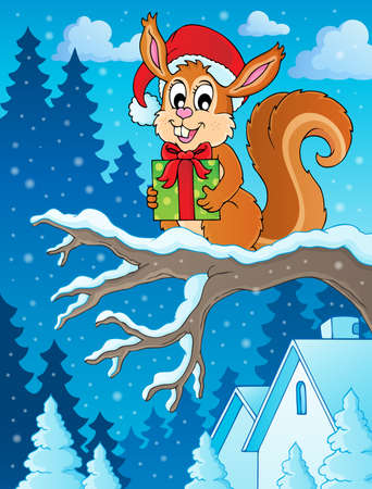 Christmas theme squirrel  Vector