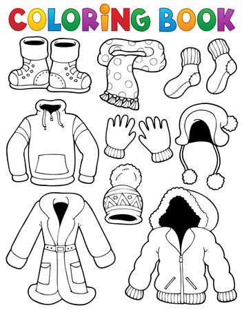 Coloring book clothes theme  Illustration