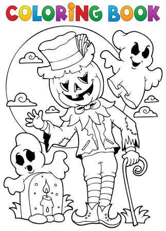 autumn colouring: Coloring book Halloween character 9 - eps10 vector illustration.