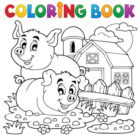 Coloring book pig theme  Vector