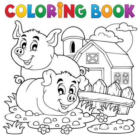libro caricatura: Libro para colorear tema del cerdo