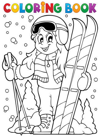 Coloring book skiing theme  Vector