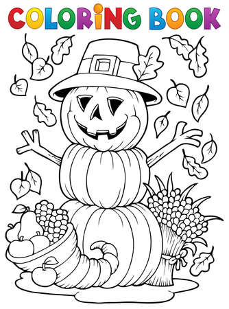 coloring book: Coloring book Thanksgiving image   Illustration